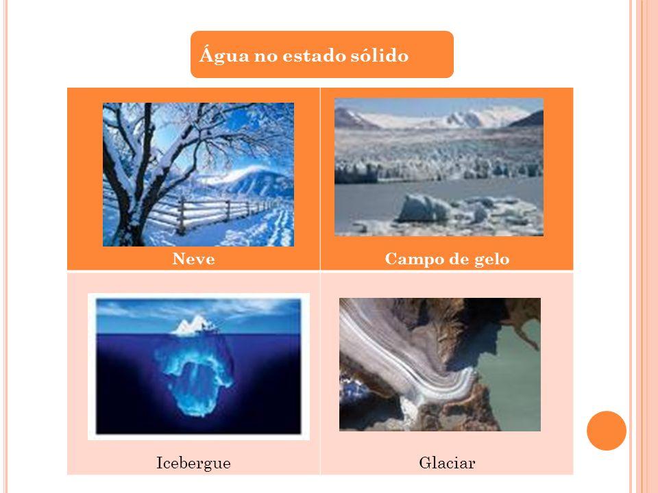 Água no estado sólido Neve Campo de gelo Icebergue Glaciar