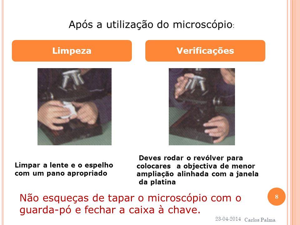 Após a utilização do microscópio:
