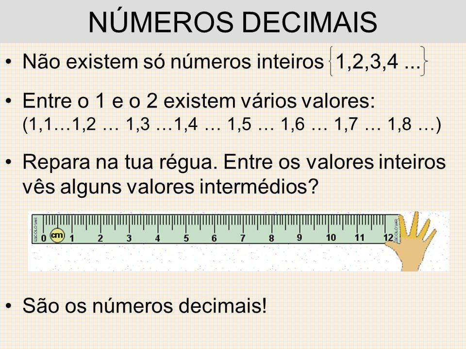 NÚMEROS DECIMAIS Não existem só números inteiros 1,2,3,4 ...