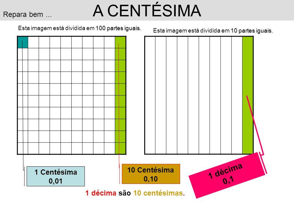 A CENTÉSIMA 1 décima 0,1 Repara bem ... 10 Centésima 1 Centésima 0,10