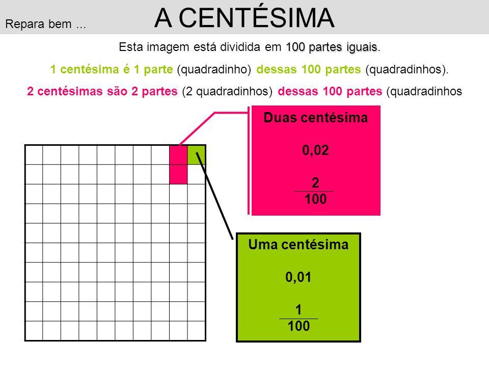 A CENTÉSIMA Duas centésima 0,02 2 100 Uma centésima 0,01 1 100
