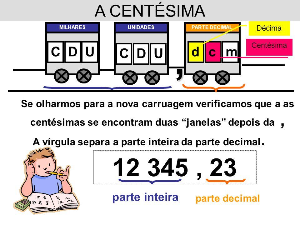 A vírgula separa a parte inteira da parte decimal.
