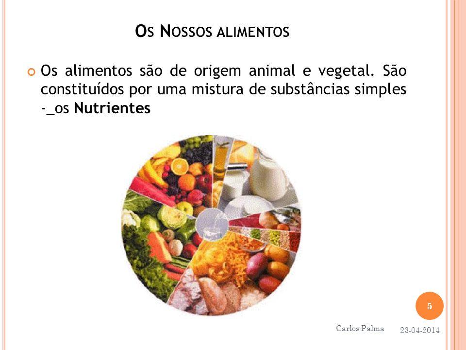 Os Nossos alimentos Os alimentos são de origem animal e vegetal. São constituídos por uma mistura de substâncias simples -_os Nutrientes.