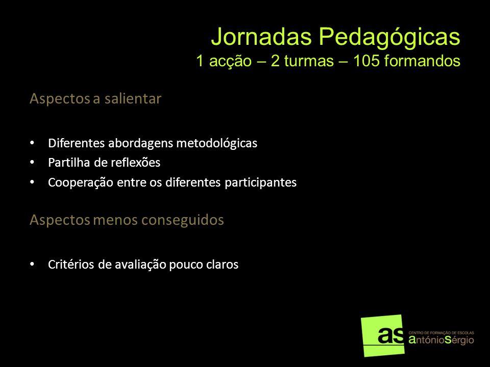 Jornadas Pedagógicas 1 acção – 2 turmas – 105 formandos