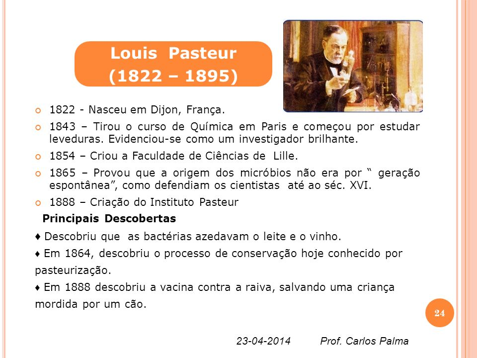 Louis Pasteur (1822 – 1895) 1822 - Nasceu em Dijon, França.
