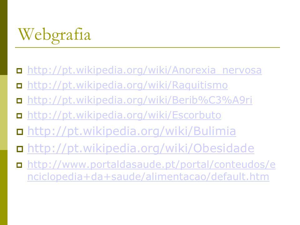 Webgrafia http://pt.wikipedia.org/wiki/Bulimia