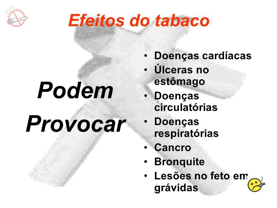 Podem Provocar Efeitos do tabaco Doenças cardíacas Úlceras no estômago