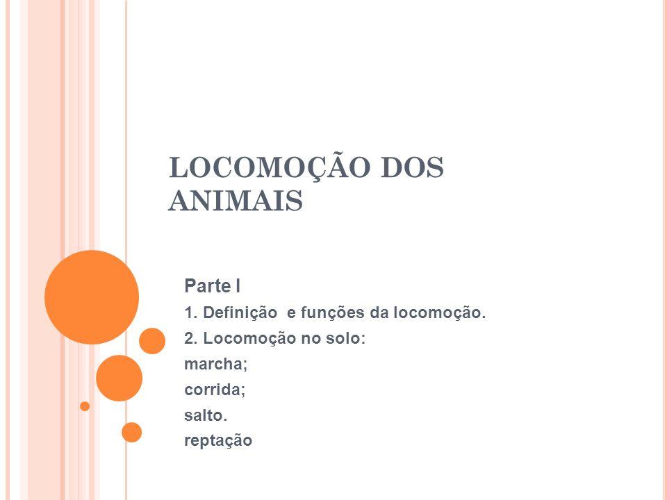 LOCOMOÇÃO DOS ANIMAIS Parte I 1. Definição e funções da locomoção.
