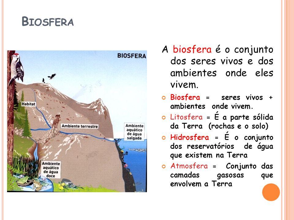 Biosfera A biosfera é o conjunto dos seres vivos e dos ambientes onde eles vivem. Biosfera = seres vivos + ambientes onde vivem.