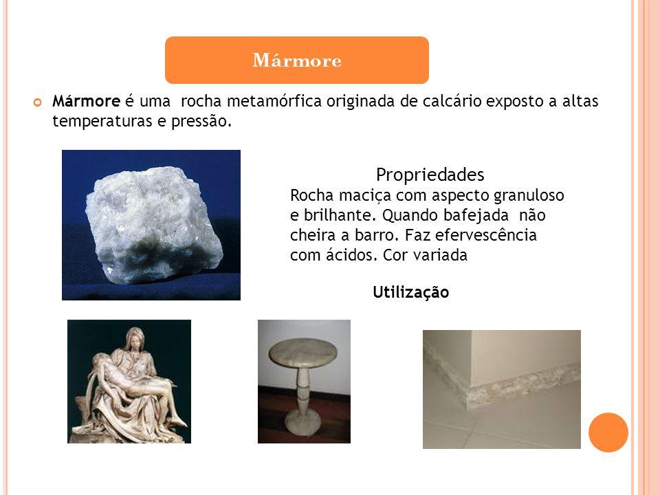MármoreMármore é uma rocha metamórfica originada de calcário exposto a altas temperaturas e pressão.