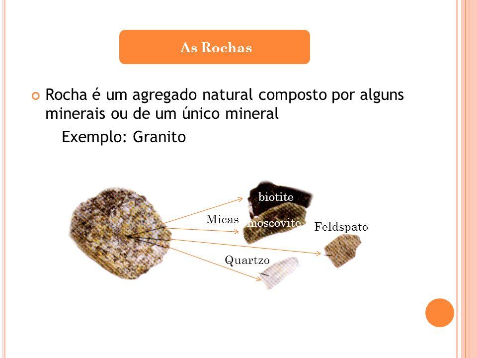 As Rochas Rocha é um agregado natural composto por alguns minerais ou de um único mineral. Exemplo: Granito.