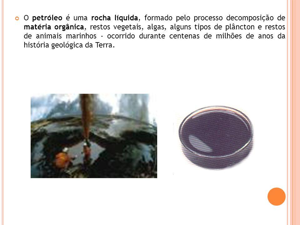 O petróleo é uma rocha líquida, formado pelo processo decomposição de matéria orgânica, restos vegetais, algas, alguns tipos de plâncton e restos de animais marinhos - ocorrido durante centenas de milhões de anos da história geológica da Terra.
