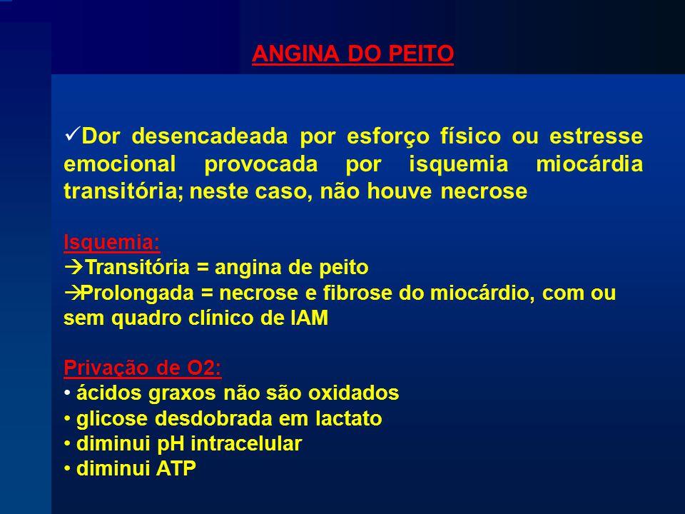 ANGINA DO PEITO Dor desencadeada por esforço físico ou estresse emocional provocada por isquemia miocárdia transitória; neste caso, não houve necrose.