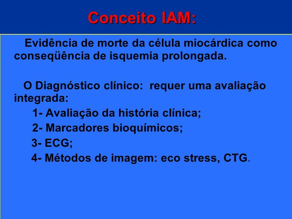 Conceito IAM: Evidência de morte da célula miocárdica como conseqüência de isquemia prolongada.