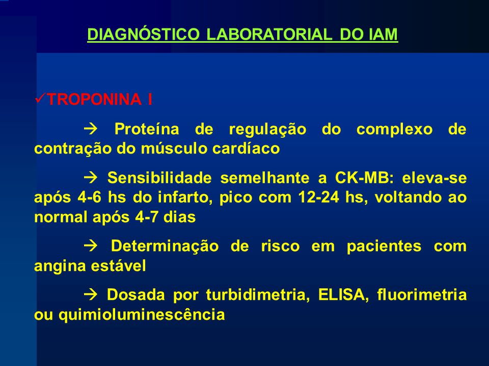 DIAGNÓSTICO LABORATORIAL DO IAM