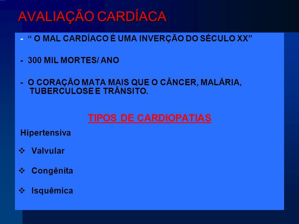 AVALIAÇÃO CARDÍACA TIPOS DE CARDIOPATIAS - 300 MIL MORTES/ ANO