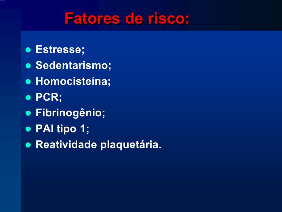 Fatores de risco: Estresse; Sedentarismo; Homocisteína; PCR;
