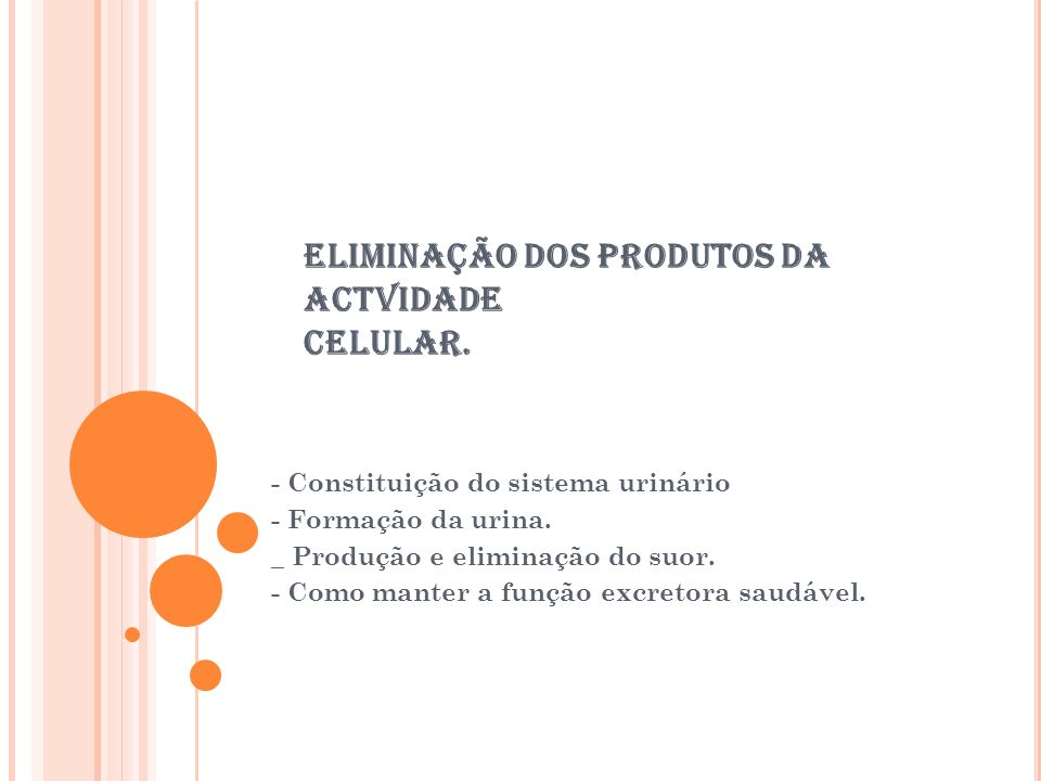 ELIMINAÇÃO DOS PRODUTOS DA ACTVIDADE CELULAR.