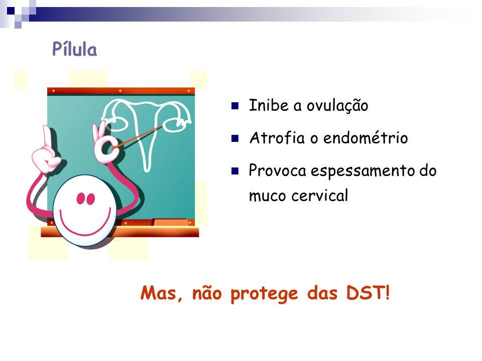 Pílula Mas, não protege das DST! Inibe a ovulação Atrofia o endométrio