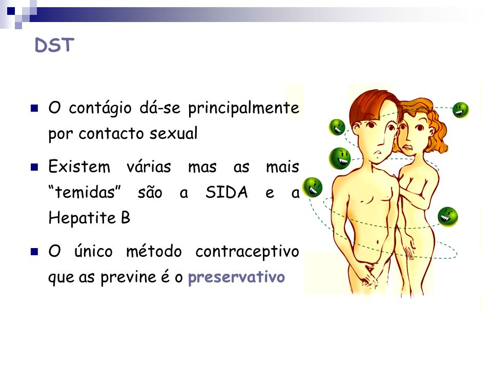 DST O contágio dá-se principalmente por contacto sexual
