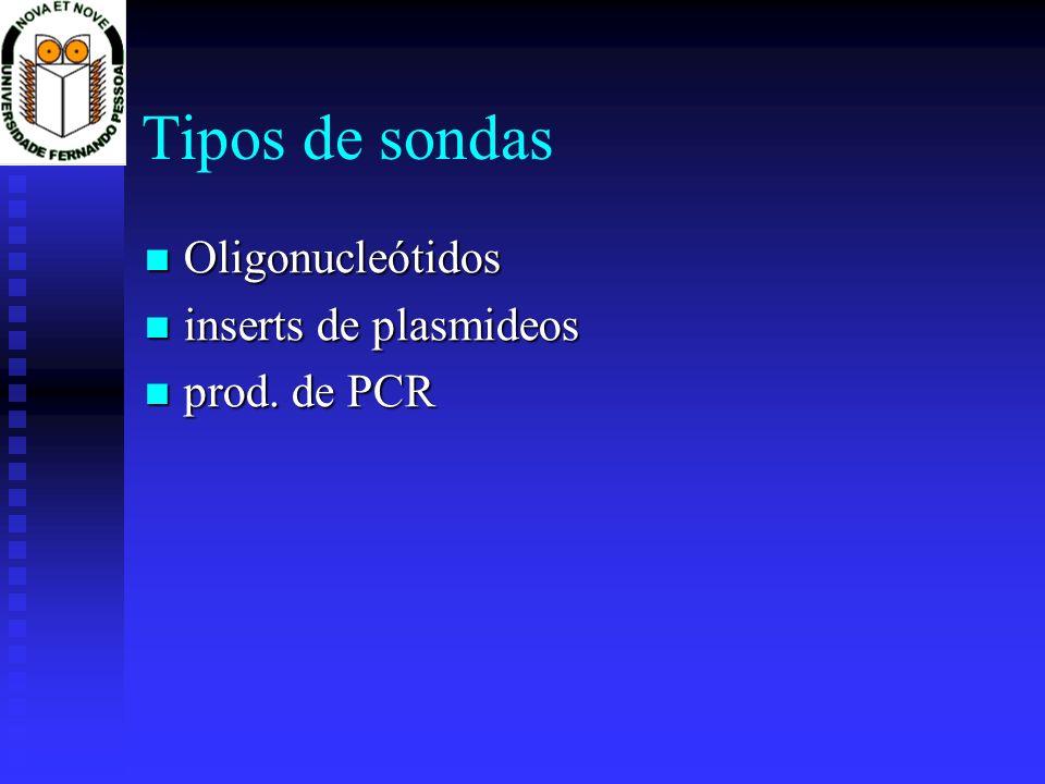 Tipos de sondas Oligonucleótidos inserts de plasmideos prod. de PCR