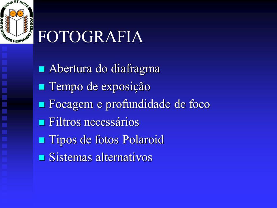 FOTOGRAFIA Abertura do diafragma Tempo de exposição