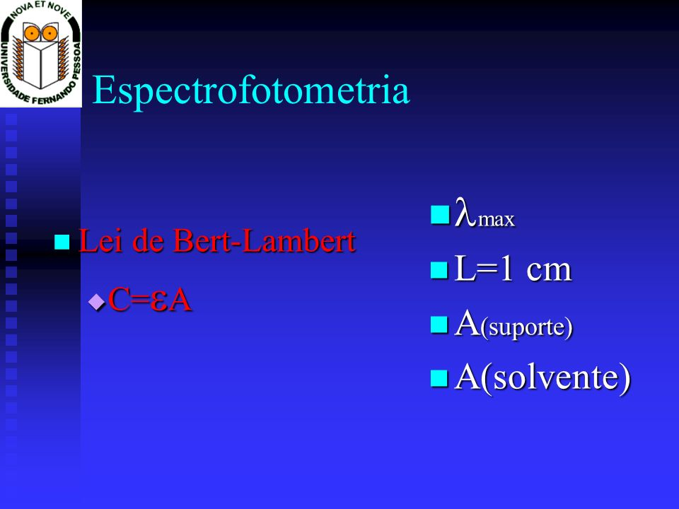 Espectrofotometria max L=1 cm A(suporte) A(solvente)
