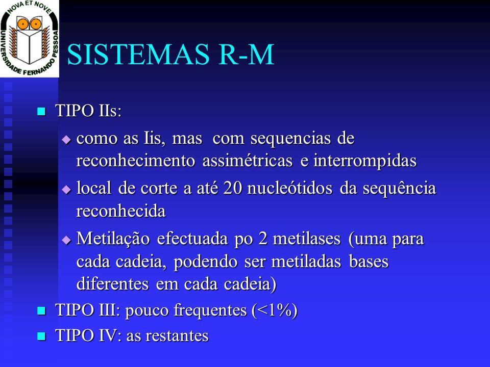 SISTEMAS R-M TIPO IIs: como as Iis, mas com sequencias de reconhecimento assimétricas e interrompidas.