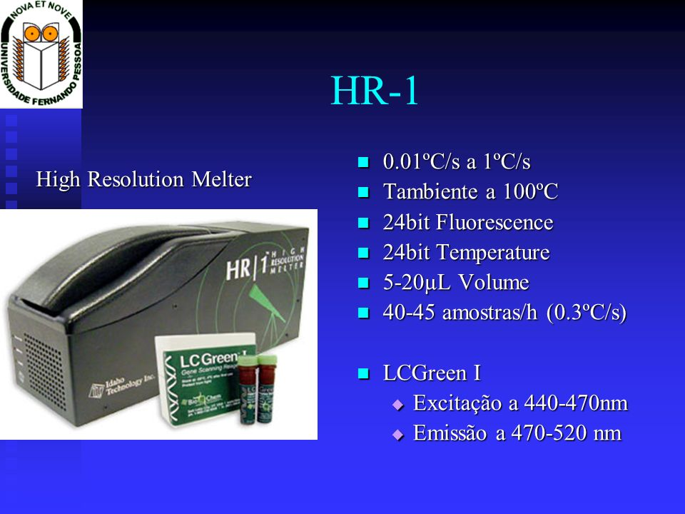 HR-1 0.01ºC/s a 1ºC/s Tambiente a 100ºC High Resolution Melter