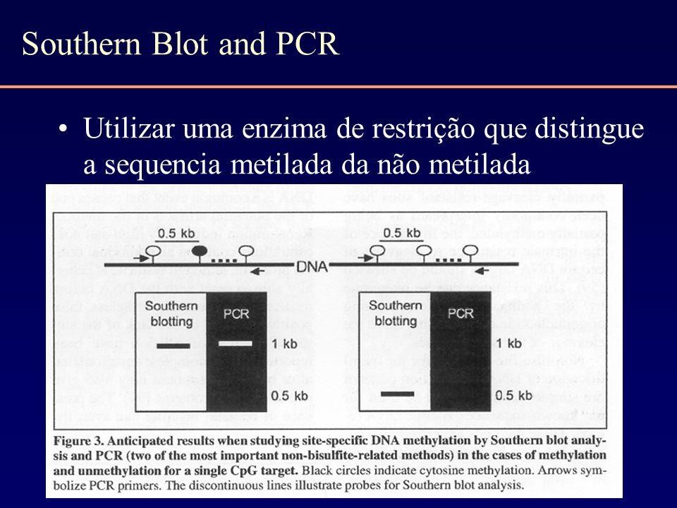 Southern Blot and PCR Utilizar uma enzima de restrição que distingue a sequencia metilada da não metilada.