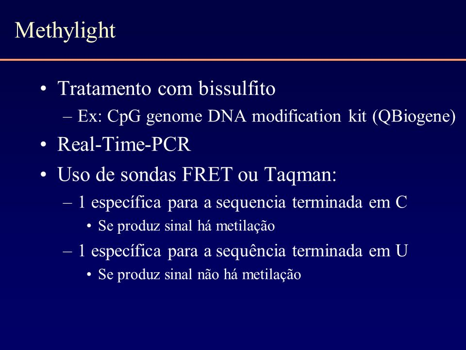 Methylight Tratamento com bissulfito Real-Time-PCR