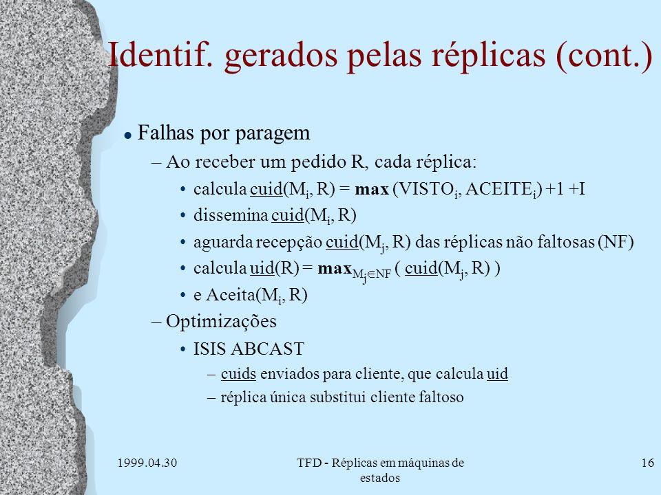 Identif. gerados pelas réplicas (cont.)