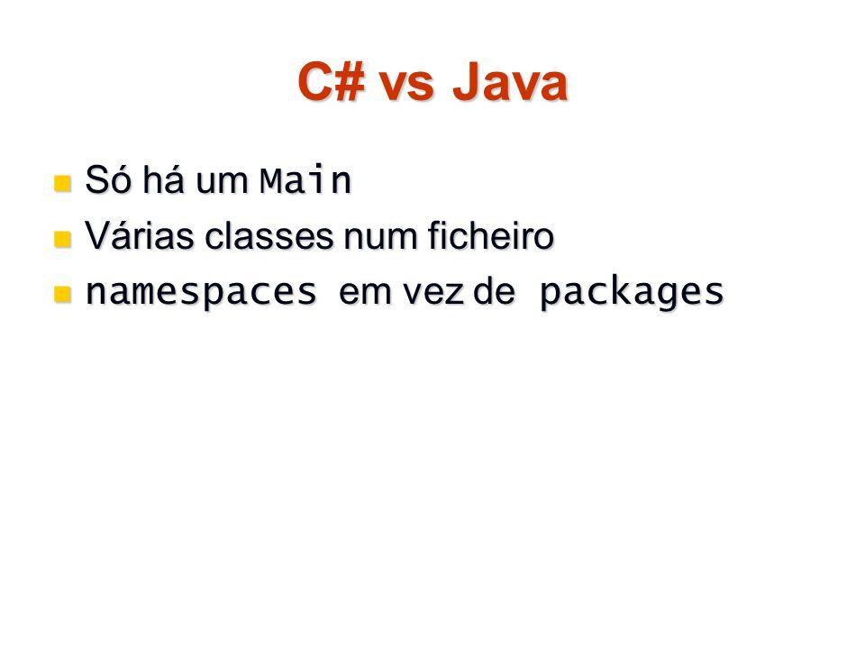 C# vs Java Só há um Main Várias classes num ficheiro
