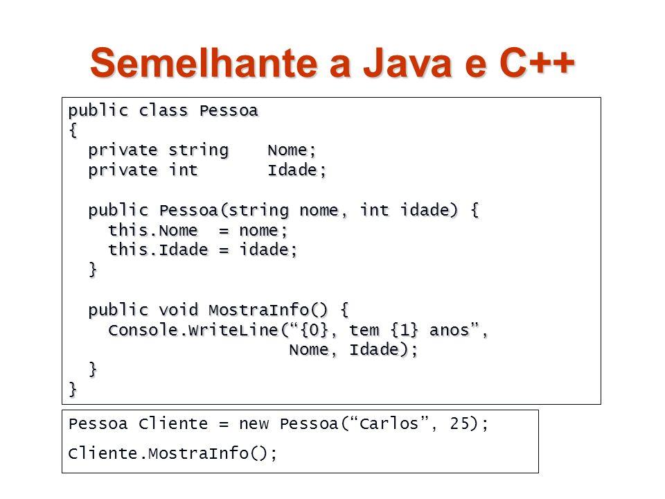 Semelhante a Java e C++ public class Pessoa { private string Nome;