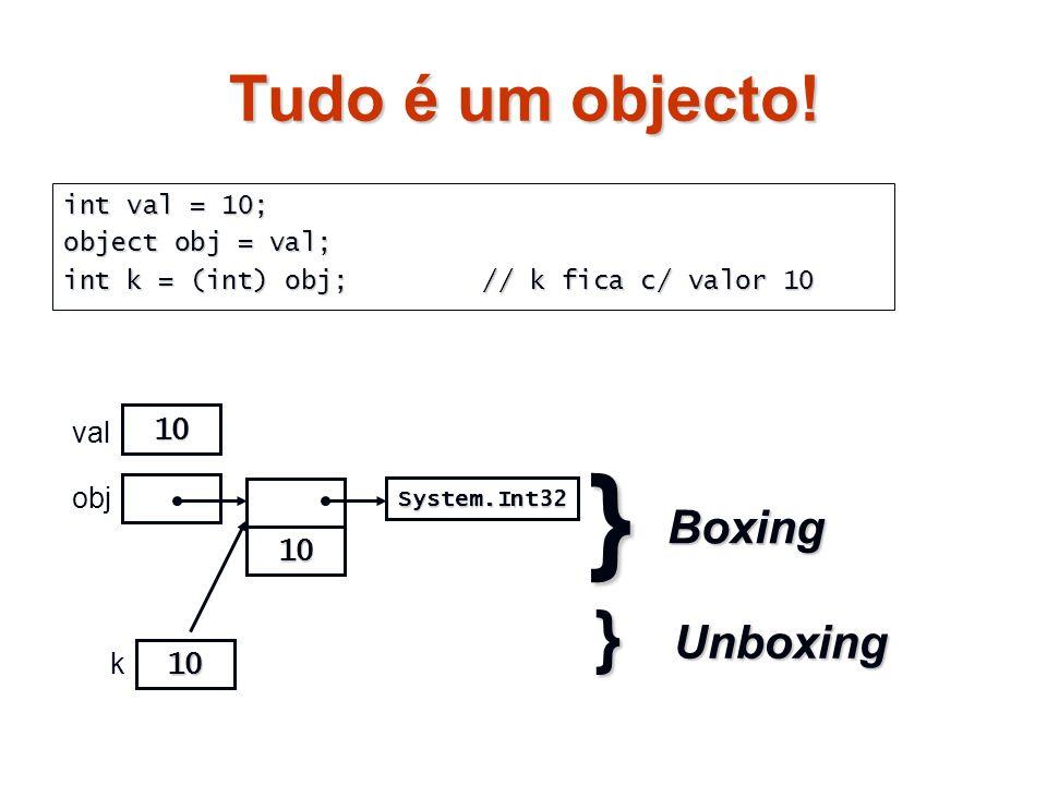 } } Tudo é um objecto! Boxing Unboxing 10 val obj 10 k 10