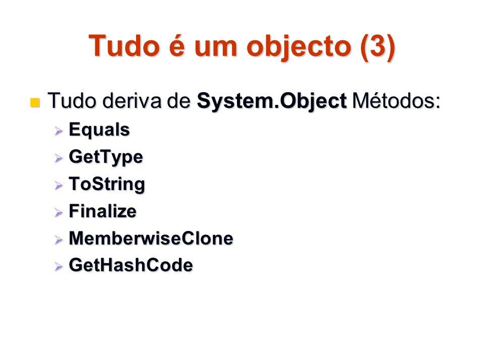 Tudo é um objecto (3) Tudo deriva de System.Object Métodos: Equals