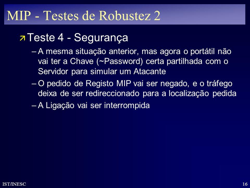 MIP - Testes de Robustez 2