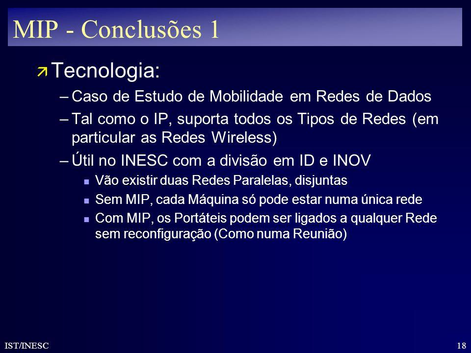 MIP - Conclusões 1 Tecnologia: