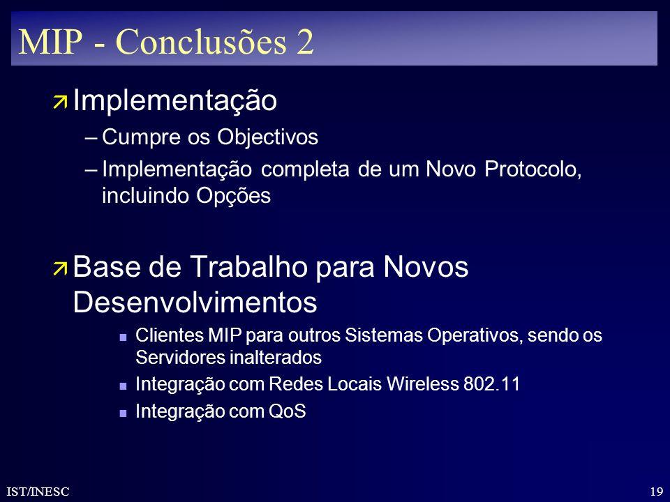 MIP - Conclusões 2 Implementação