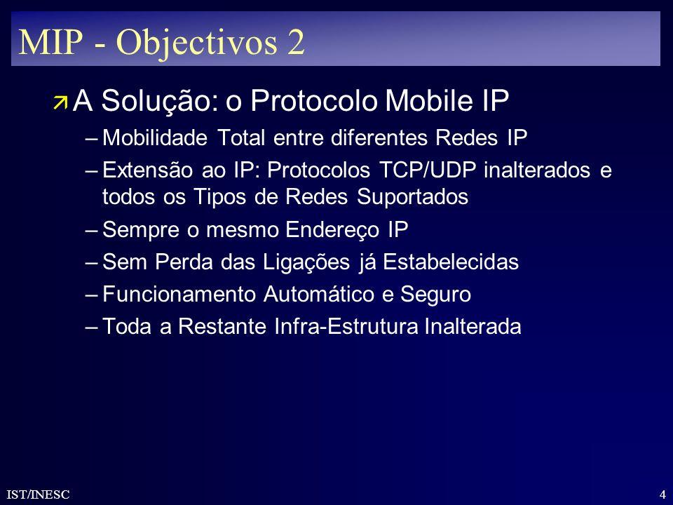MIP - Objectivos 2 A Solução: o Protocolo Mobile IP