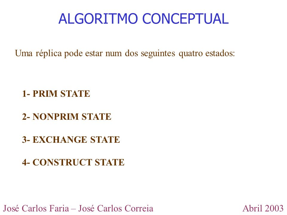 ALGORITMO CONCEPTUAL Uma réplica pode estar num dos seguintes quatro estados: 1- PRIM STATE. 2- NONPRIM STATE.