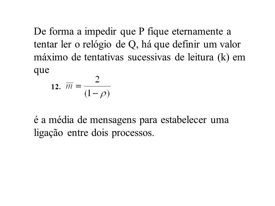 De forma a impedir que P fique eternamente a tentar ler o relógio de Q, há que definir um valor máximo de tentativas sucessivas de leitura (k) em que