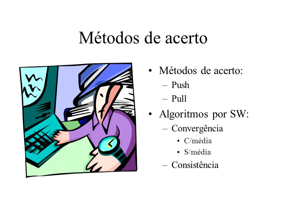 Métodos de acerto Métodos de acerto: Algoritmos por SW: Push Pull