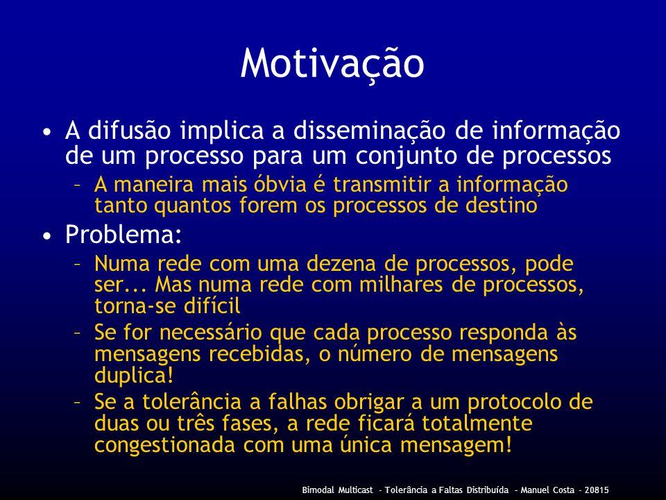 Motivação A difusão implica a disseminação de informação de um processo para um conjunto de processos.