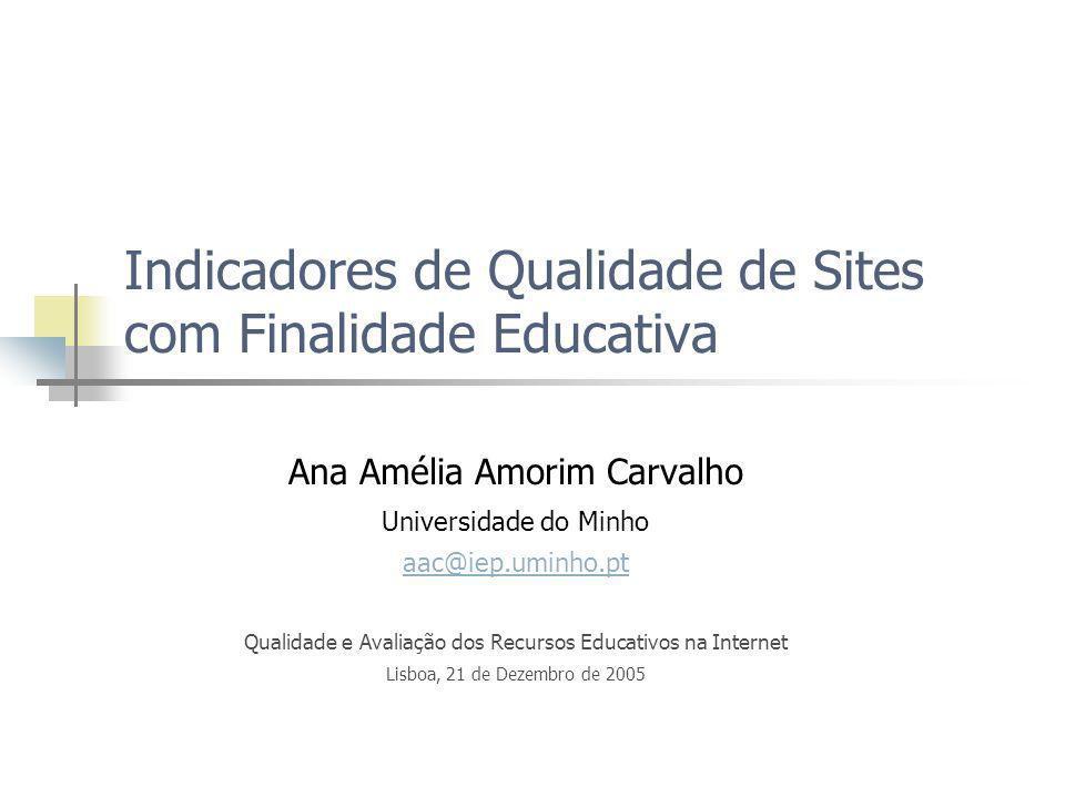 Indicadores de Qualidade de Sites com Finalidade Educativa