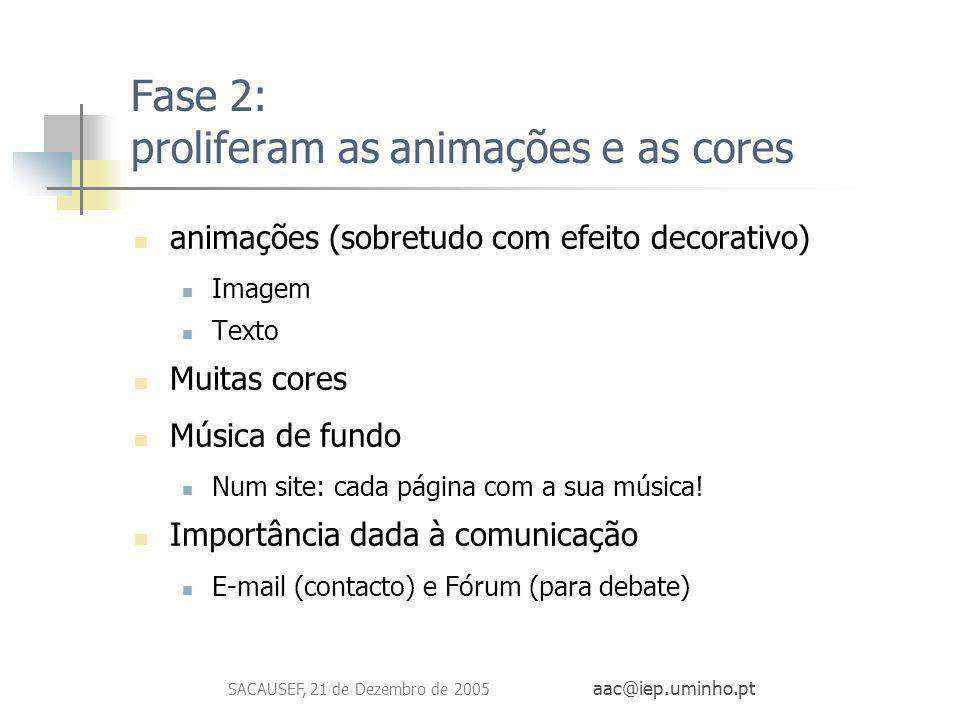 Fase 2: proliferam as animações e as cores