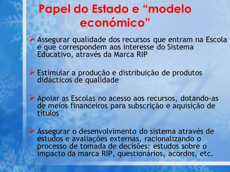 Papel do Estado e modelo económico