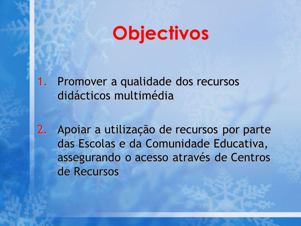 Objectivos Promover a qualidade dos recursos didácticos multimédia