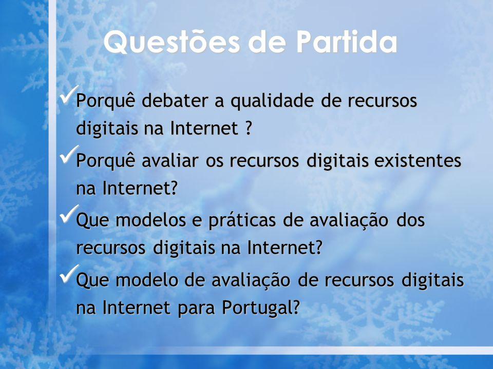 Questões de Partida Porquê debater a qualidade de recursos digitais na Internet Porquê avaliar os recursos digitais existentes na Internet