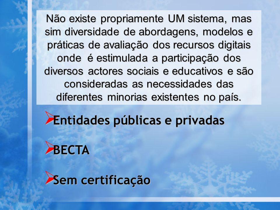 Entidades públicas e privadas BECTA Sem certificação